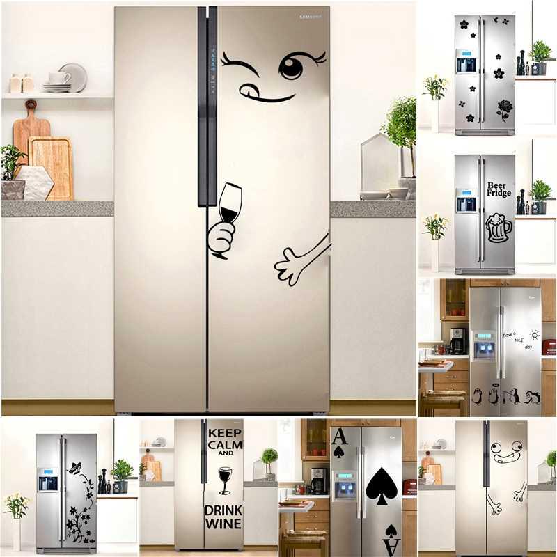 حار الثلاجة ملصقات الفينيل خلفية مقاومة للمياه للمطبخ الديكور الجدار ملصق مائي جدارية البيرة البطريق الزهور الثلاجة