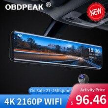 OBDPEAK – enregistreur vidéo de voiture H6 4K, 12 pouces, miroir de recul, Dvr IMX415, caméra de tableau de bord 3840x2160P avec GPS, Vision nocturne, caméra de recul
