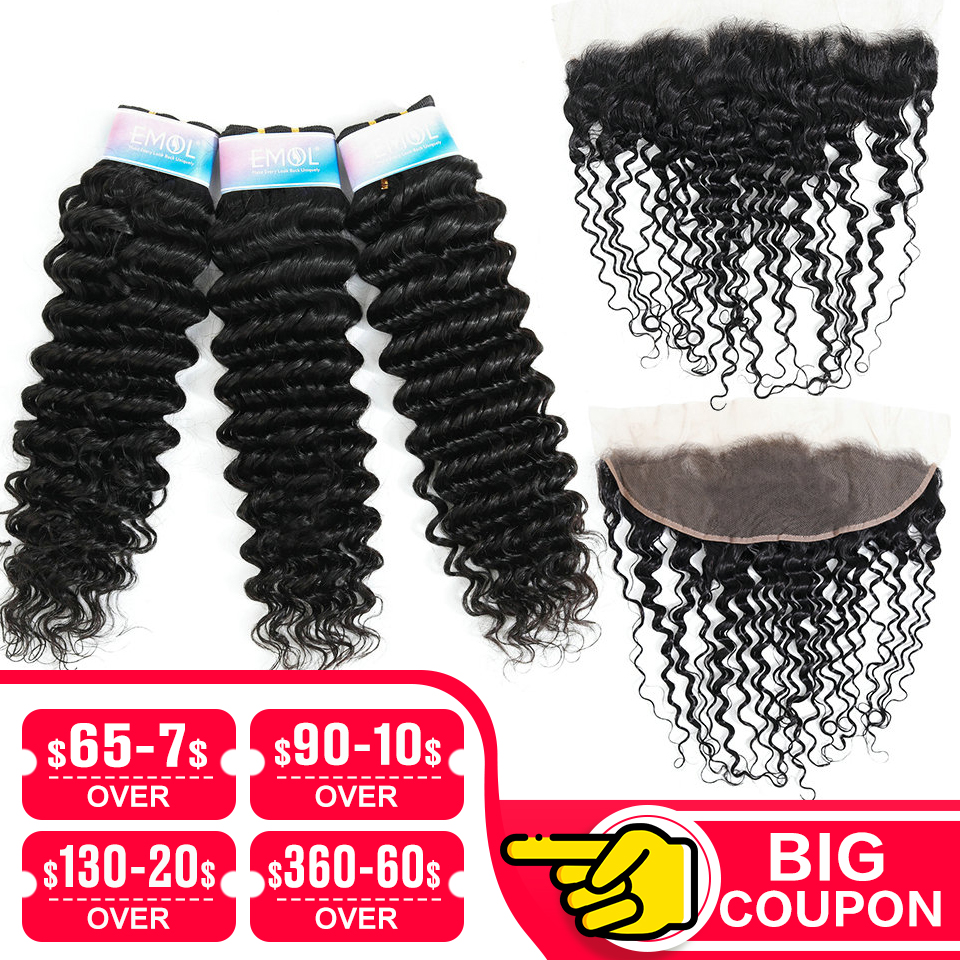 Emol Deep Wave 13*4 Bundles With Frontal Malaysian Hair Bundles With Closure Human Hair With Closure Non-Remy