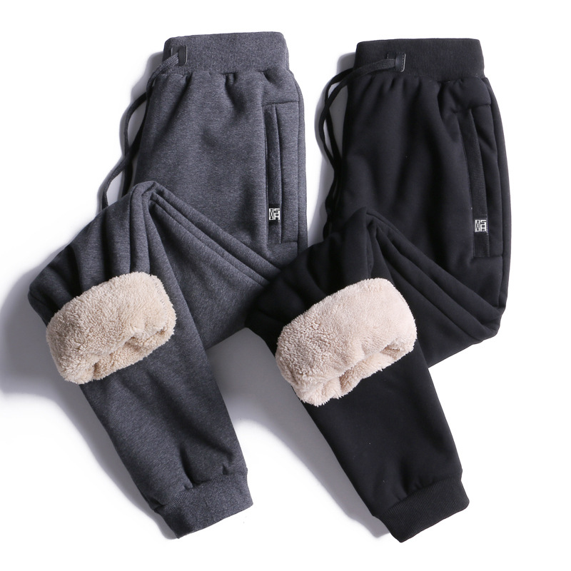 Winter Solid Color Plus Velvet Skinny Closing Men Berber Fleece Cotton-padded Trousers Athletic Pants Large Size Men's Trousers