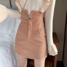 Зимняя женская винтажная шерстяная юбка с высокой талией, однотонная тонкая трапециевидная Толстая теплая мини-юбка с карманами для офисных леди черного цвета