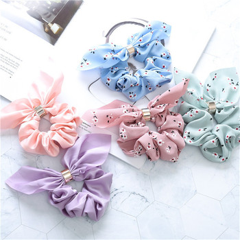 Women Summer Flower Printed Hair Scrunchies Solid Rope Tie Bohe Elastic Bands Ribbons Ponytail Holder Hairbands Accessories - discount item  40% OFF Headwear