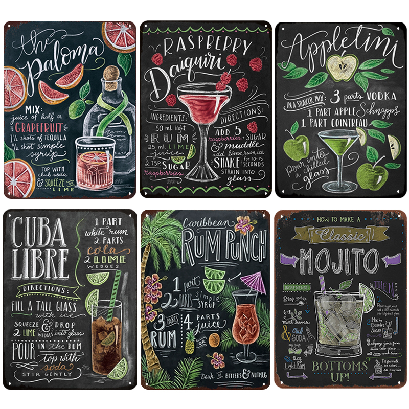 Summer Time BEER Retro Metal Tin Signs Mojito Cocktail Plaque Vintage Poster Bar Pub Art Stickers Wall Decor 20x30cm