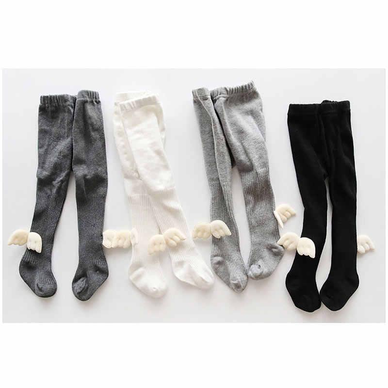 Bayi Celana Ketat Stoking Anak Perempuan Anak-anak Pantyhose Kapas Kawaii Lucu Wing Pakaian Musim Dingin Hangat Abu-abu Putih Hitam Fashion Celana Ketat