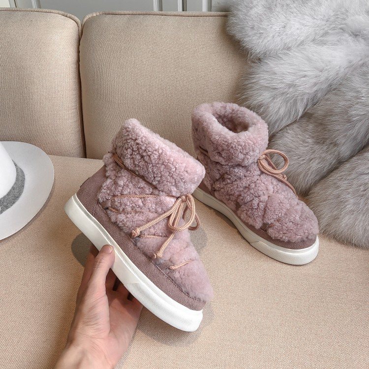 Sweet Women Wool Cow Suede Ankle Boots Female Big Size Snow Boots Dancing Casual Shoes Woman Newest Flats Platform Boots 32