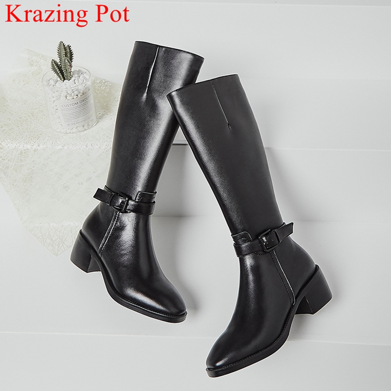 Cow Leather Zipper Round Toe