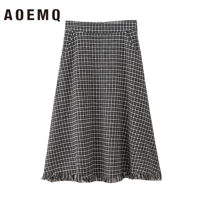 AOEMQ Fashion Skirts Winter Christmas Thick Hole Tassel Skirts Gray Plaid Print Warm Women Bottoms With Pocket Skirts Clothing