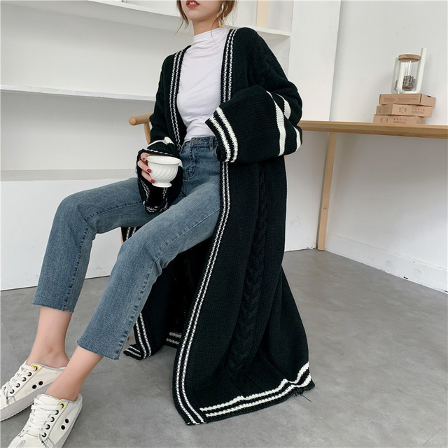 Long Style Autumn Knitted Sweater Popular Coat Cardigan2