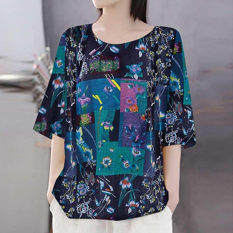ZANZEA Bohemian Print Blouse Summer 3/4 Sleeve Tunic Tops Women Vintage Loose Party Shirt Casual Baggy Blusas Femininas Chemise