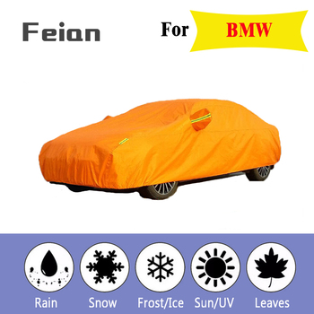 Full Reflective strip Car Covers Snow Ice Dust Wind Sunshade UV Cover Foldable Car Outdoor orange Protector Cover for BMW