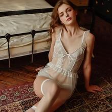 New white mesh sexy underwear ladies nightdress home dress summer lace perspective sleepwear set