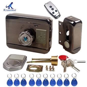 Elektroniczny zamek do drzwi RFID bezprzewodowy zamek elektryczny do metalu elektryczny zamek do drzwi 125KHZ karta RFID blokada zamka drzwi silnika Keyless tanie i dobre opinie Realhelp 2203 12V 4 x AA battery 0-6cm 1s (Key remote control Knob ID Card) About 1 years 30 000 times Wooden door Iron door anti-theft door