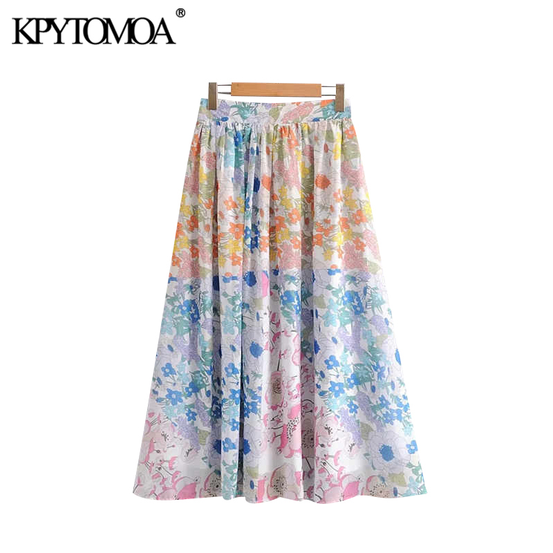 Vintage Stylish Floral Print Pleated Midi Skirt Women 2020 Fashion A Line Back Zipper Beach Female Skirts Casual Faldas Mujer