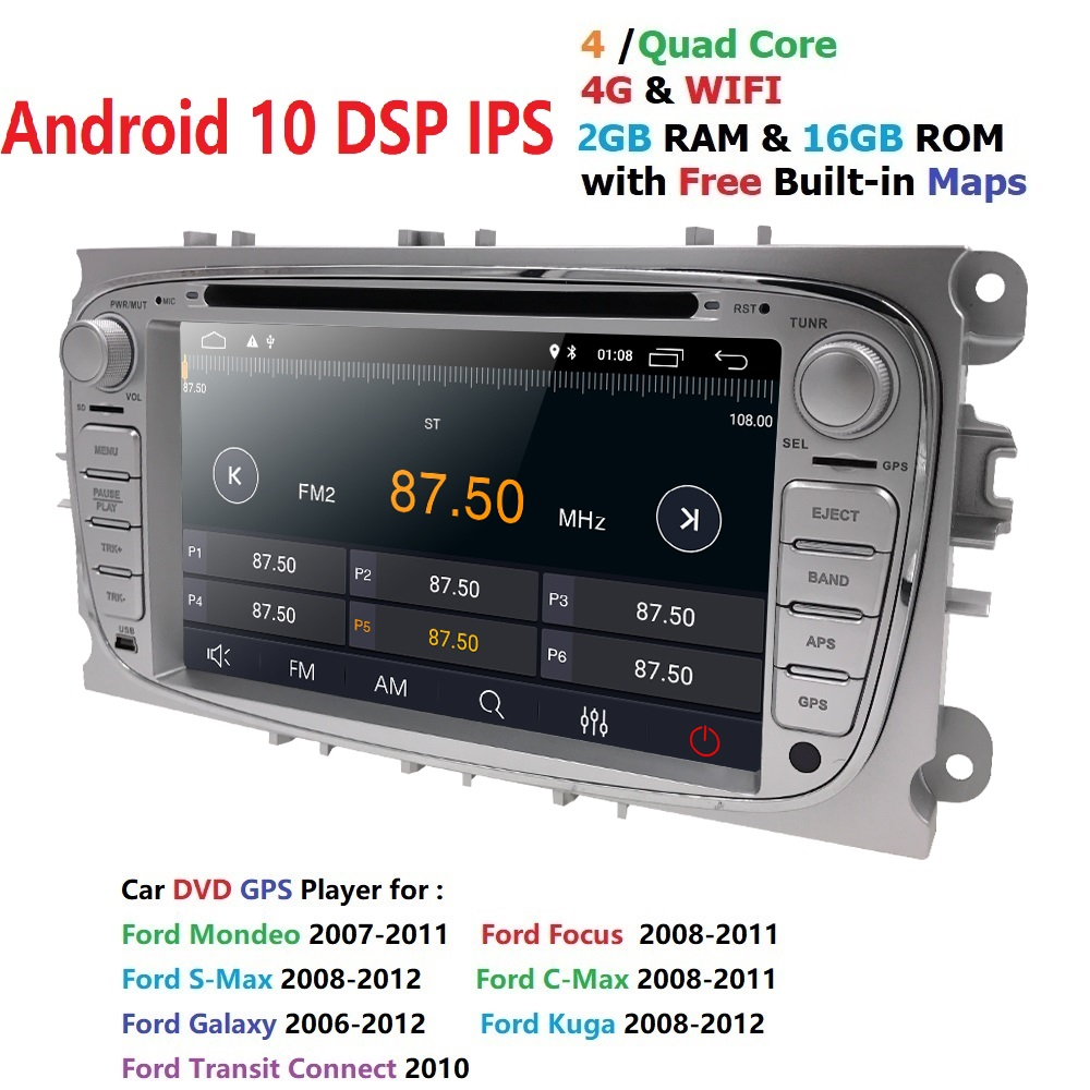 Car Multimedia Player Android 10 GPS 2 Din car dvd player for <font><b>FORD</b></font>/<font><b>Focus</b></font>/S-MAX/Mondeo/C-MAX/Galaxy wifi car <font><b>radio</b></font> <font><b>Auto</b></font> Audio BT image