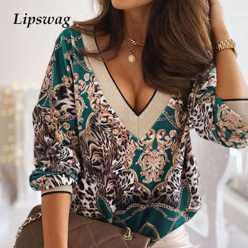 2021 весенне-осенние элегантные туфле-Цветочный принт; Блуза; Рубашки для женщин с сексуальным v-образным вырезом, пуловеры с длинными рукавам...