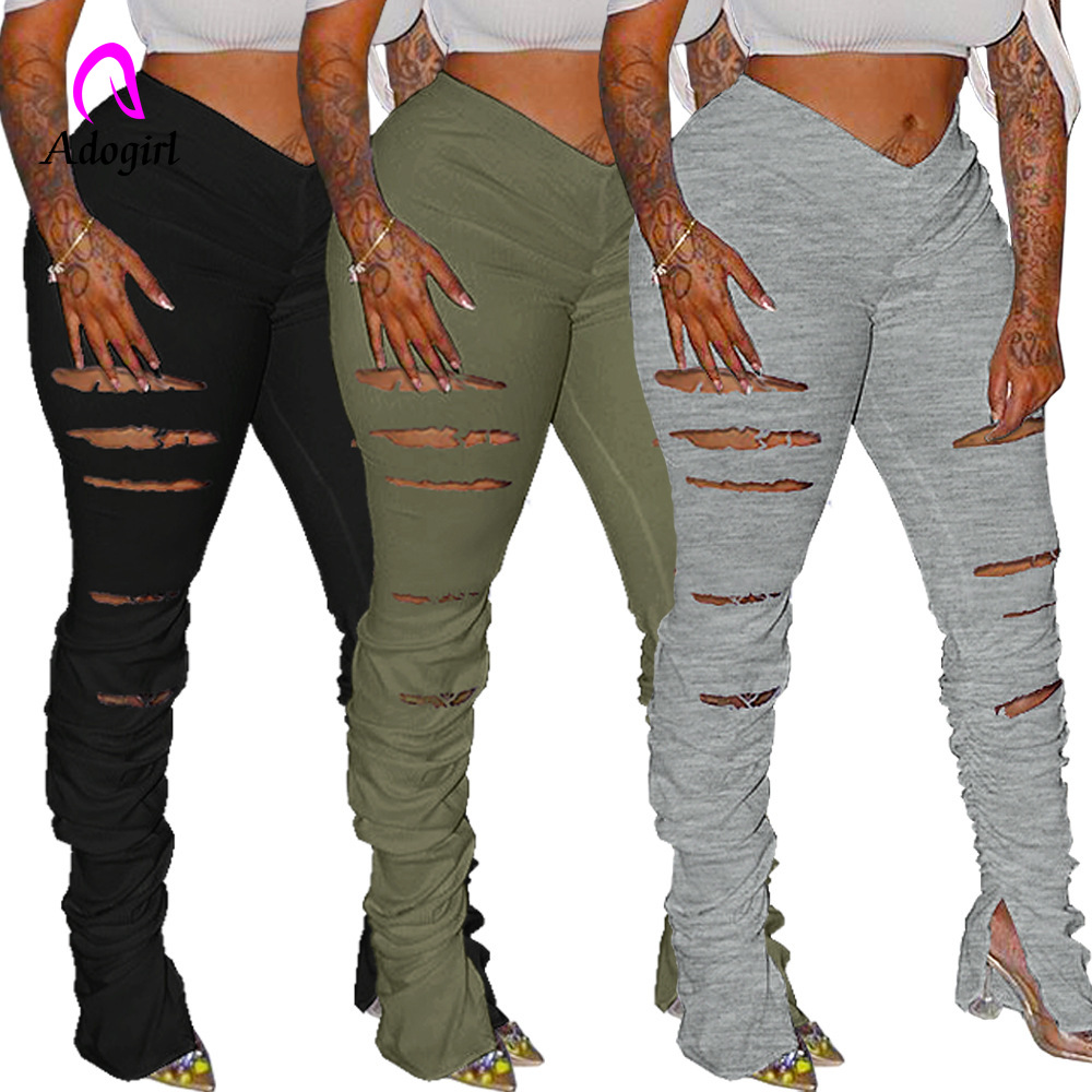 Distressed Women Flare Pants Joggers High Waist Pleated Trousers Stacked Sweatpants New Fitness Ruched Pants Hole Sport Leggings