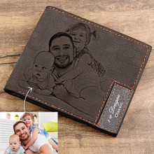 Custom Picture Wallet Men Short Leather Ultra Thin Fashion Simple Diy Personalized Image Lettering Photo Purse Fathers Day Gift