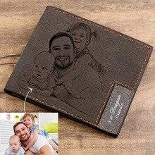 Özel resim cüzdan erkekler kısa deri Ultra ince moda basit Diy kişiselleştirilmiş görüntü yazı fotoğraf Purse babalar günü hediye