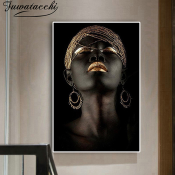 Fuwatacchi Black Gold Nude Scandinavian Wall Picture for Living Room African Art Woman Oil Painting Cuadros Posters and Prints