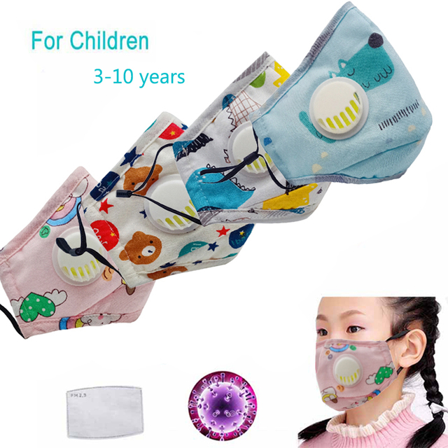 5 Layer Activated Carbon Filter Breath Valve Mask PM2.5 Flu Respirator Mouth Mask Dust-proof Washable Reusable Mask For Children