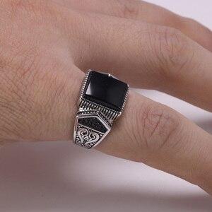Image 2 - Гарантированные мужские серебряные кольца s925, антикварные турецкие кольца для мужчин, вывеска, кольцо с квадратным камнем цвета, турецкие ювелирные изделия Anello Uomo