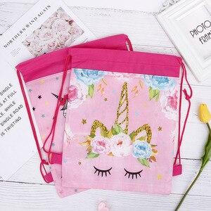 Free shipping Unicorn Drawstring bag for Girls Travel Storage Package Cartoon School Backpacks Children Birthday Party Favors