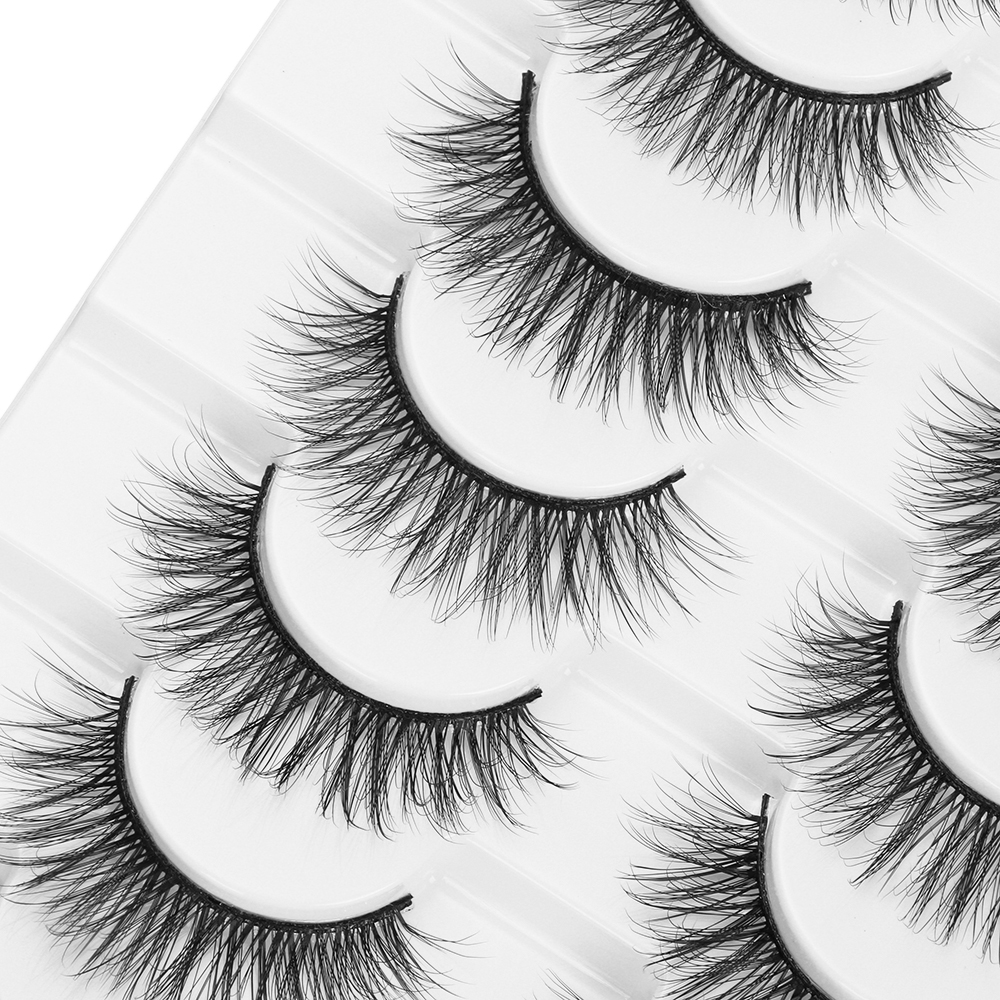 LEKGAVD 8 Pairs 3D Mink False Eyelashes Natural Wispy Fluffy Dramatic Volume Fake Lashes Extension Handmade Cruelty-free Eyelash
