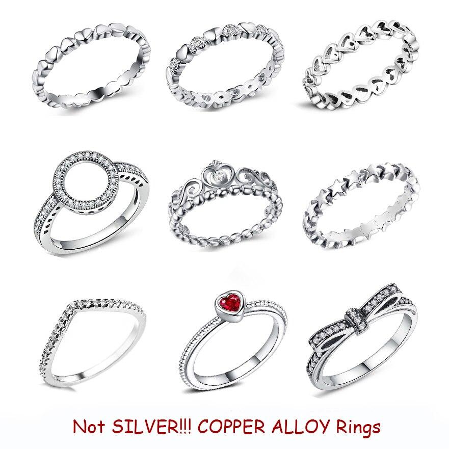 Новая мода Серебряный Цвет медное кольцо любовь, сердце, Корона Кольца CZ Стекируемые для вокруг шеи отличное Женское Ожерелье Свадебные укр...