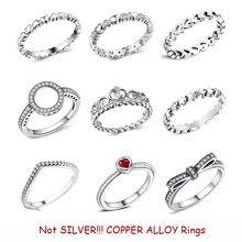Nouvelle mode argent couleur cuivre anneau amour coeur couronne bagues clair CZ empilable pour les femmes bijoux de mariage cadeau livraison directe