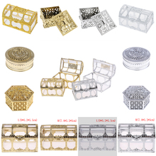 1 Pza Hollow Gold Foil caja de dulces en forma de torta boda Favor matrimonio Baby Shower caja de regalo embalaje fiesta evento suministros
