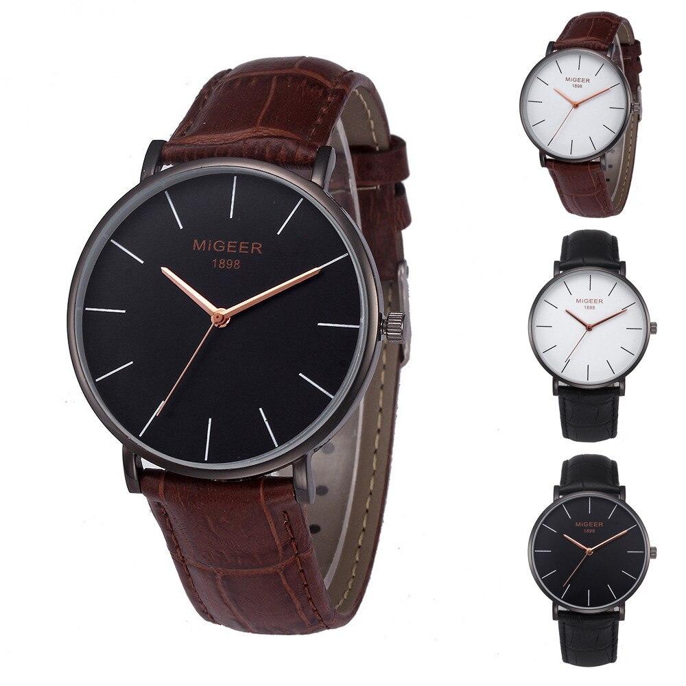 Luxury Band Fashion Men Watch Men's Leather Quarz Watch Stylish And Simple Temperament Belt Wrist Watch Relogio Masculino