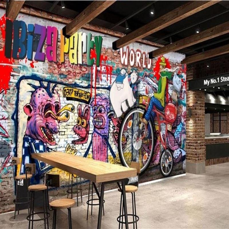 Drop Shipping Custom Mural Personality Graffiti Large Mural Wallpaper Bar KTV Lounge Bar Cafe Living Room 3D Retro Wallpaper