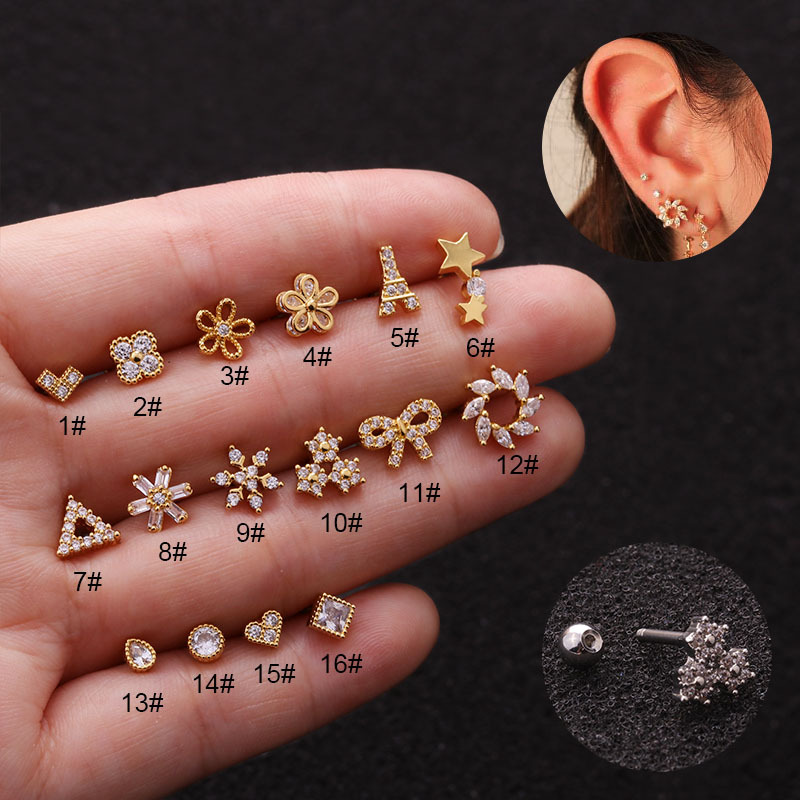1PC Stainless Steel CZ Cartilage Earring Flower Tower Bowknot Screw Back Stud Tragus Conch Rook Earlobe Helix Piercing Jewelry