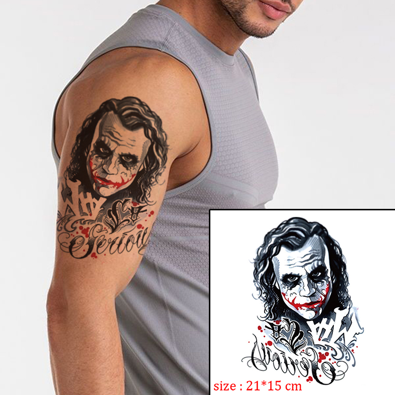 Tattoo Sticker The Joker Skull Letter Rose Flower Tatto Waterproof Temporary Fake Tattoo For Man Girl Body Art Arm Flash Tatoo