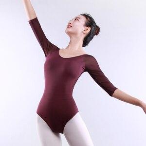 Image 3 - Adult Gymnastics Leotard Black Mesh Ballet Leotards for Women Ballet Dances Long Sleeve Justaucorps Dance Bodysuit