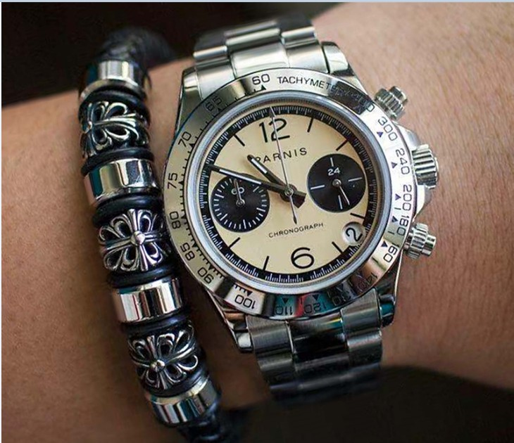 Sapphire Crystal 39mm PARNIS Japanese Quartz Movement Men's Watch Multi-function Quartz Watches 5Bar Pa18-20