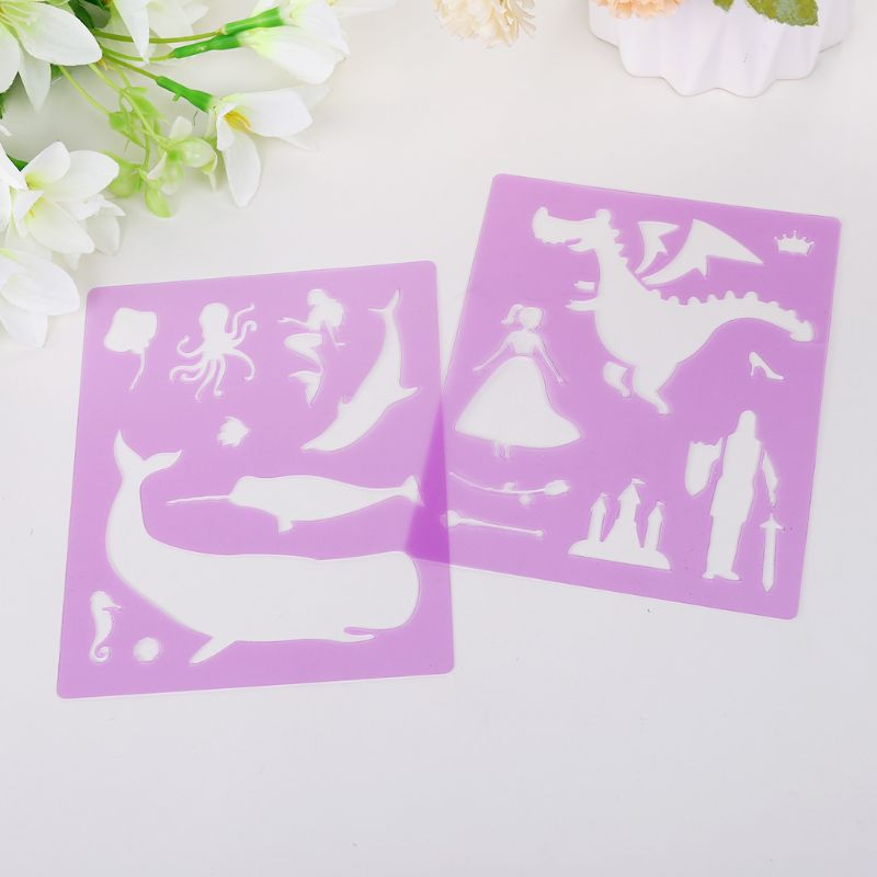14pcs/set Letters Animal Drawing Template Stencil Painting Embossing DIY Album
