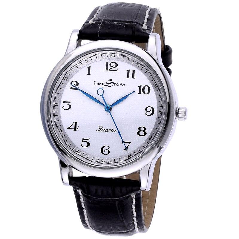 Reloj de cuarzo para hombre, reloj de cuero para hombres estudiantes, resistente al agua, con esfera con estampado de aceite y contrapeso
