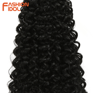Image 5 - FASHION IDOL Afro Kinky Curly Hair Bundles Synthetic Hair Extensions Nature Color 6 Bundles 16 20inch 250g Kinky Curly Bundles