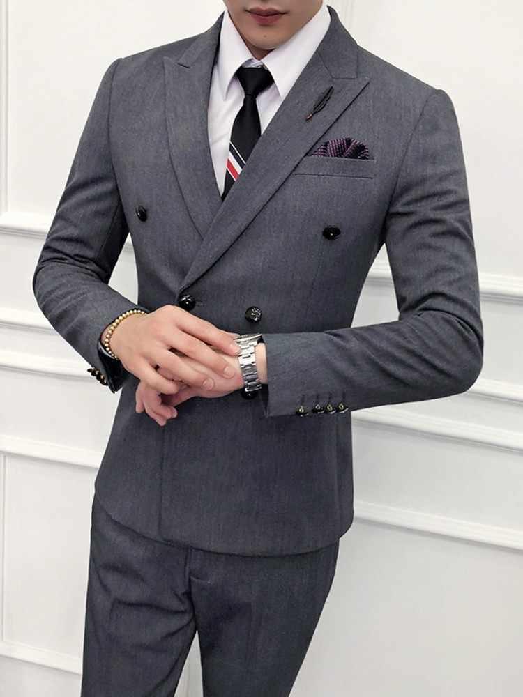(Jacket+Vest+Pant) Luxury Wedding Suit Male Blazers Slim Fit Suits For Men Costume Business Formal Party Khaki Classic Black