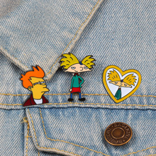 Cartoon Arnold Pins Fun Anime Boy Enamel Pin Collection Fashion tv Show Brooch for Friends