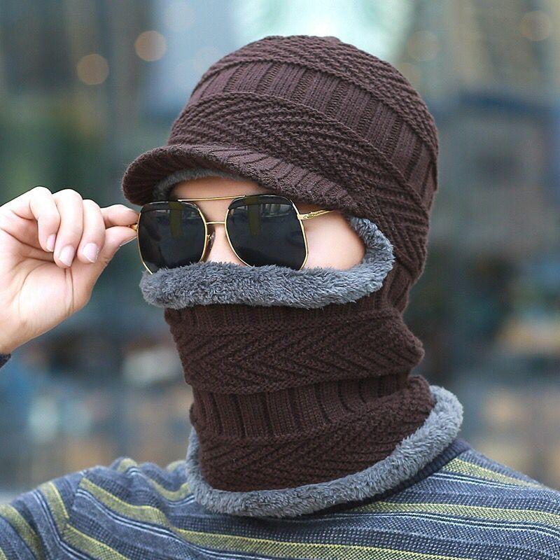 Thickening Knitted Wool Cap Men Winter Hat Keep Warm Bonnet Balaclava Face Mask Hats Women Beanie Dual-use Hat & Scarf