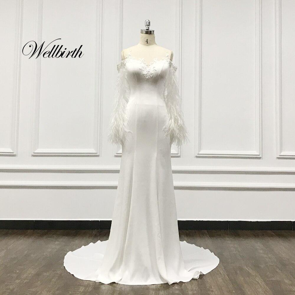 100% Real Picture Wellbirth Vestido De Novia 2020 Satin Mermaid Wedding Dress Ostrich Feather Sleeves Bridal Dress TT013