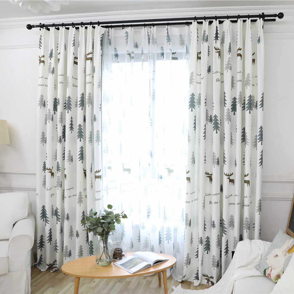 Nordic Style Modern Beautiful Printed Gray Curtains For Living Room Bedroom Kitchen Window Treatments Custom Made Curtains Aliexpress