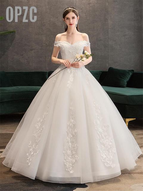 Plus Size Lace Flowers Peals Wedding Dresses Simple Elegant Wedding Gowns Bride Dress Boda robe de mariee Boat neck Off Shoulder 1