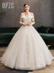 Plus Size Kant Bloemen Peals Trouwjurken Eenvoudige Elegante Bruidsjurken Bruid Jurk Boda Gewaad De Mariee Boothals Off schouder