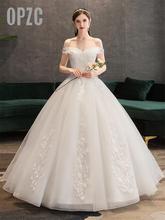 Plus Size Lace Flowers Peals Wedding Dresses Simple Elegant Wedding Gowns Bride Dress Boda robe de mariee Boat neck Off Shoulder