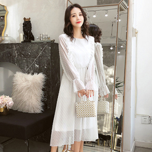 Vintage White Dress Elegant Long Sleeve Chiffon Ruffle Sweet Polka Dot Dress Autumn S-XL Loose Korean Casual Ladies Dresses Midi bowtie chiffon long sleeve dress women korean vintage black print sweet ladies dresses autumn kawaii midi robe femme 2019 s xl