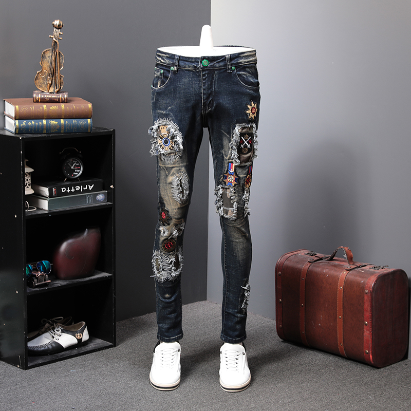 Spring Holes Patch Jeans Man Directly Canister Elastic Force Pant Men Embroidery Hole Splice Pants Skinny Jeans Moda Hombre 2020