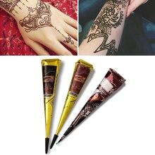 1PCs Indische Natürliche Pflanzliche Henna Tattoo Paste Farbe Temporäre Wasserdichte Tattoo Kit Körper Kunst Aufkleber Mehandi Körper Malen Werkzeuge